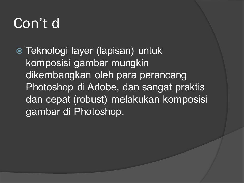 Con't d  Photoshop menggunakan teknologi Plug-In untuk meningkatkan kemampuannya, dan Plug-In Photoshop didukung banyak pihak dan menjadi standar plug-in dunia untuk software image editing.