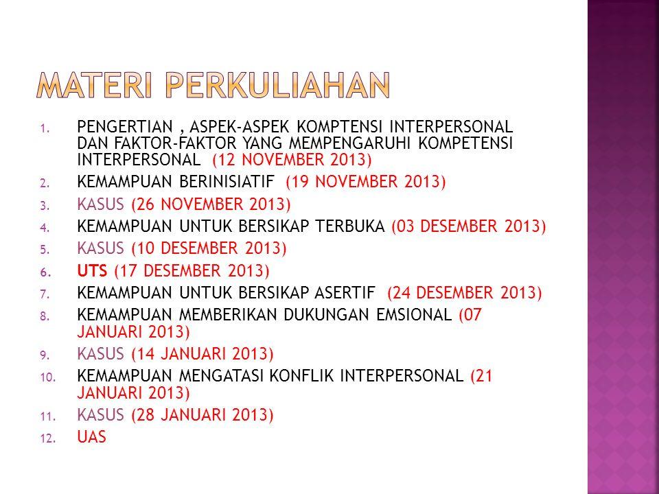 1. PENGERTIAN, ASPEK-ASPEK KOMPTENSI INTERPERSONAL DAN FAKTOR-FAKTOR YANG MEMPENGARUHI KOMPETENSI INTERPERSONAL (12 NOVEMBER 2013) 2. KEMAMPUAN BERINI