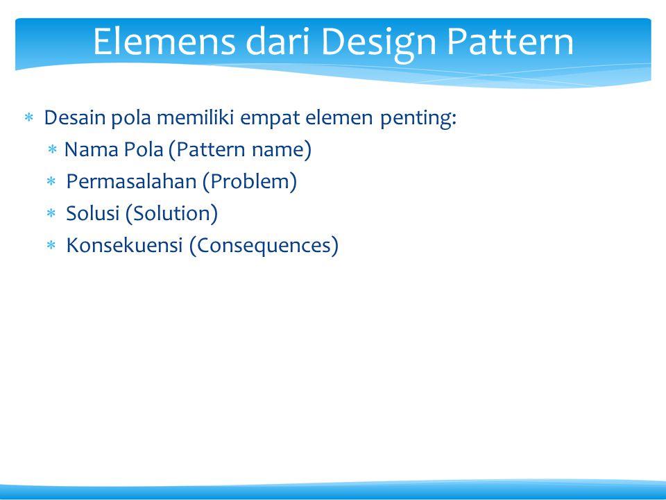  Desain pola memiliki empat elemen penting:  Nama Pola (Pattern name)  Permasalahan (Problem)  Solusi (Solution)  Konsekuensi (Consequences) Elemens dari Design Pattern