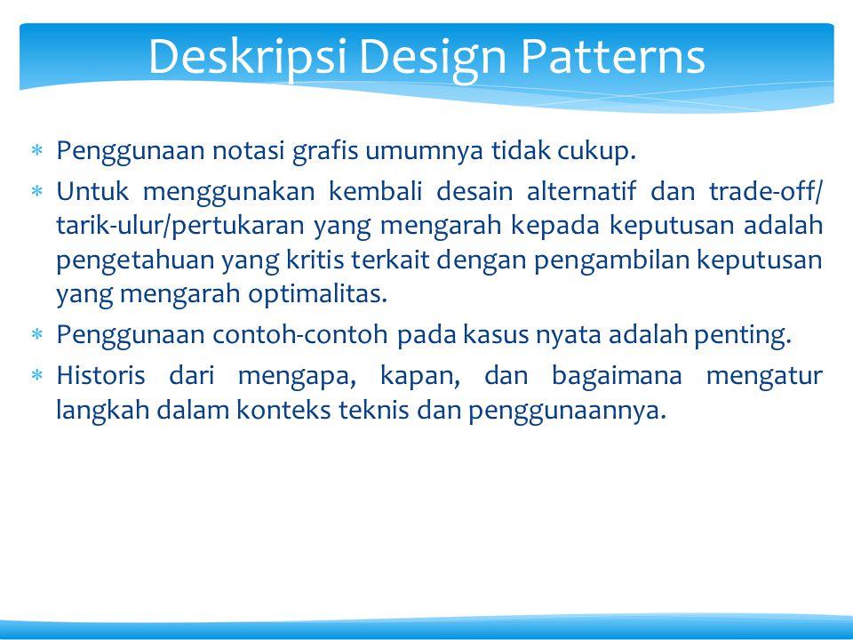  Penggunaan notasi grafis umumnya tidak cukup.  Untuk menggunakan kembali desain alternatif dan trade-off/ tarik-ulur/pertukaran yang mengarah kepad