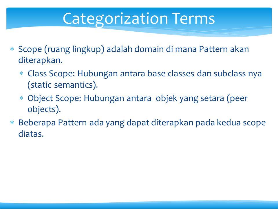  Scope (ruang lingkup) adalah domain di mana Pattern akan diterapkan.  Class Scope: Hubungan antara base classes dan subclass-nya (static semantics)