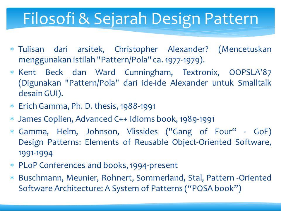  Tulisan dari arsitek, Christopher Alexander.(Mencetuskan menggunakan istilah Pattern/Pola ca.