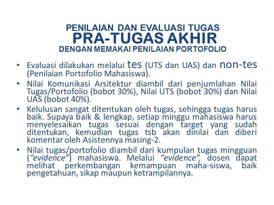PENILAIAN DAN EVALUASI TUGAS PRA-TUGAS AKHIR DENGAN MEMAKAI PENILAIAN PORTOFOLIO Evaluasi dilakukan melalui tes (UTS dan UAS) dan non-tes (Penilaian P