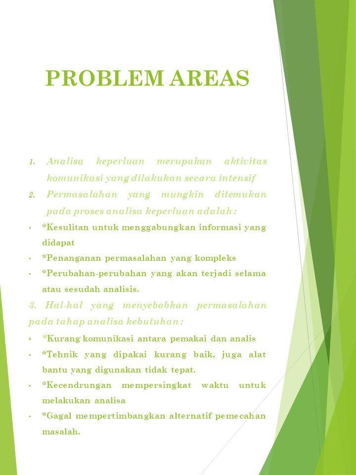 PROBLEM AREAS 1.Analisa keperluan merupakan aktivitas komunikasi yang dilakukan secara intensif 2.