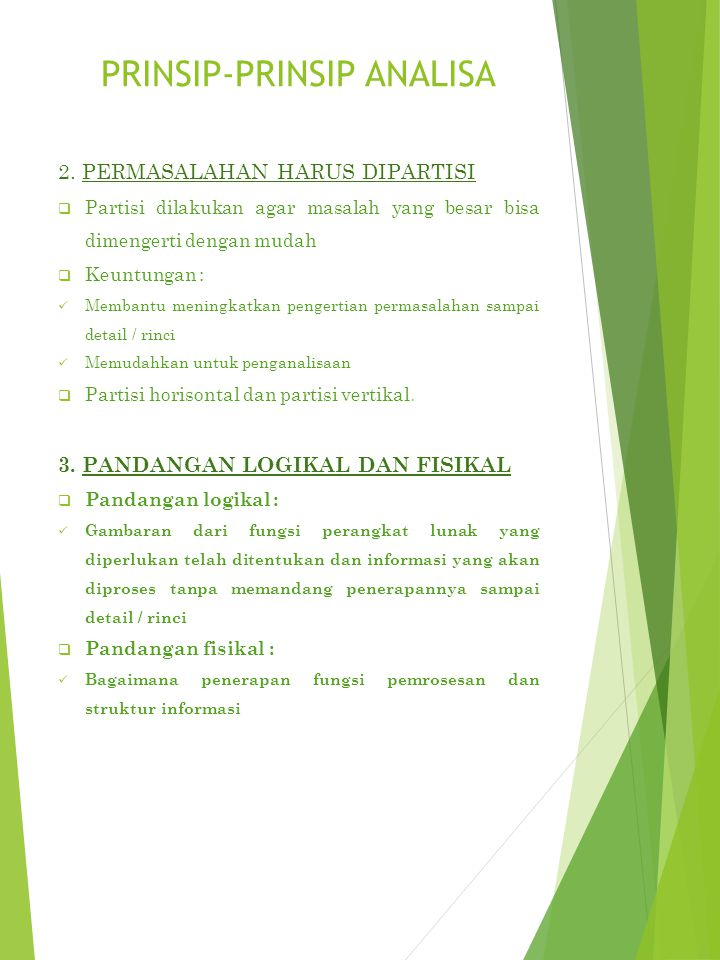 PRINSIP-PRINSIP ANALISA 2.