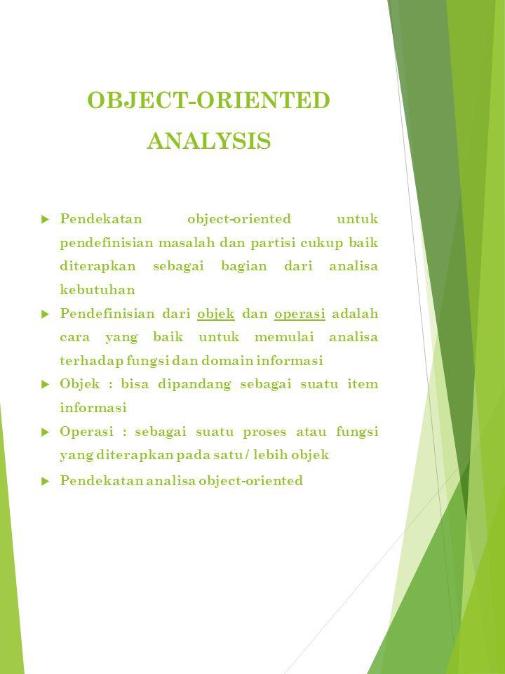 OBJECT-ORIENTED ANALYSIS  Pendekatan object-oriented untuk pendefinisian masalah dan partisi cukup baik diterapkan sebagai bagian dari analisa kebutuhan  Pendefinisian dari objek dan operasi adalah cara yang baik untuk memulai analisa terhadap fungsi dan domain informasi  Objek : bisa dipandang sebagai suatu item informasi  Operasi : sebagai suatu proses atau fungsi yang diterapkan pada satu / lebih objek  Pendekatan analisa object-oriented