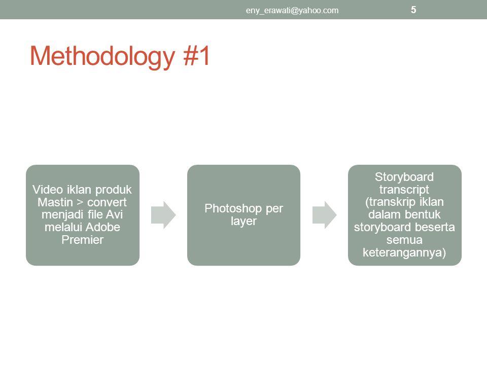 Methodology #1 Video iklan produk Mastin > convert menjadi file Avi melalui Adobe Premier Photoshop per layer Storyboard transcript (transkrip iklan d