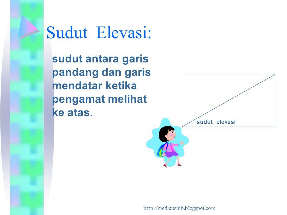 http://mediapemb.blogspot.com Sudut Elevasi: sudut antara garis pandang dan garis mendatar ketika pengamat melihat ke atas. sudut elevasi