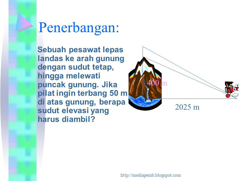 http://mediapemb.blogspot.com Penerbangan: Sebuah pesawat lepas landas ke arah gunung dengan sudut tetap, hingga melewati puncak gunung. Jika pilat in