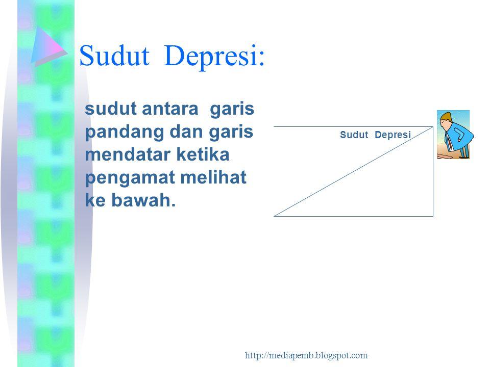 http://mediapemb.blogspot.com Sudut Depresi: sudut antara garis pandang dan garis mendatar ketika pengamat melihat ke bawah. Sudut Depresi