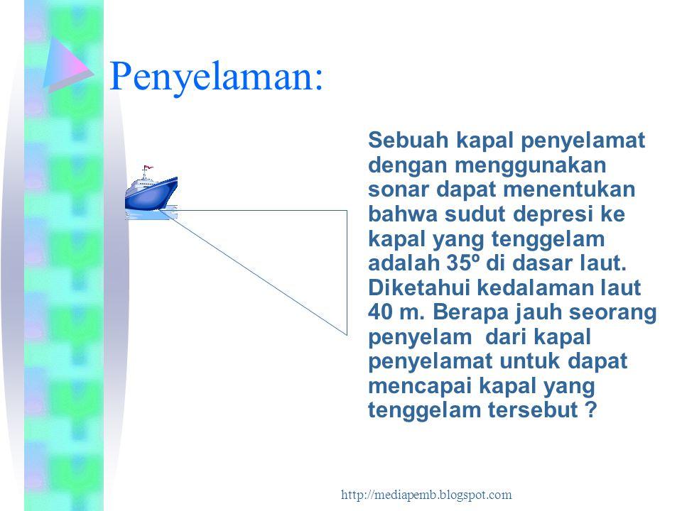 http://mediapemb.blogspot.com Penyelaman: Sebuah kapal penyelamat dengan menggunakan sonar dapat menentukan bahwa sudut depresi ke kapal yang tenggela