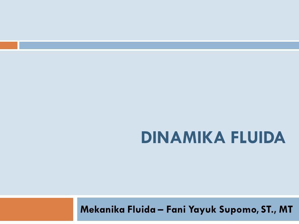 DINAMIKA FLUIDA Mekanika Fluida – Fani Yayuk Supomo, ST., MT