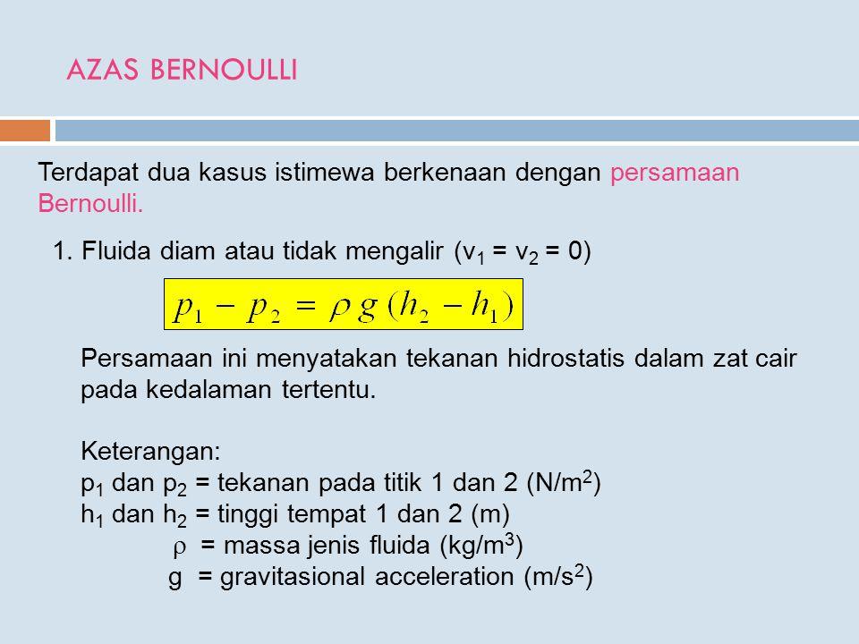 AZAS BERNOULLI Terdapat dua kasus istimewa berkenaan dengan persamaan Bernoulli.