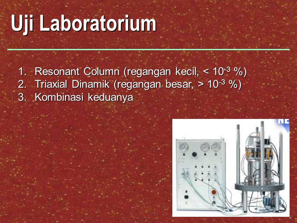 Uji Laboratorium 1.Resonant Column (regangan kecil, < 10 -3 %) 2.Triaxial Dinamik (regangan besar, > 10 -3 %) 3.Kombinasi keduanya