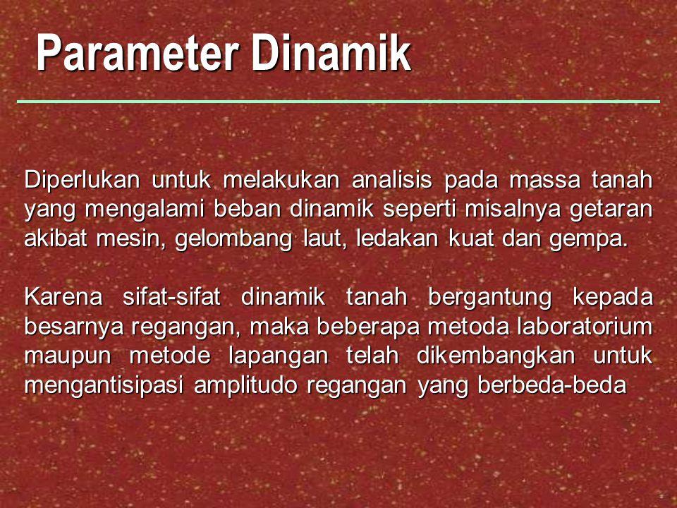Parameter Dinamik Diperlukan untuk melakukan analisis pada massa tanah yang mengalami beban dinamik seperti misalnya getaran akibat mesin, gelombang l