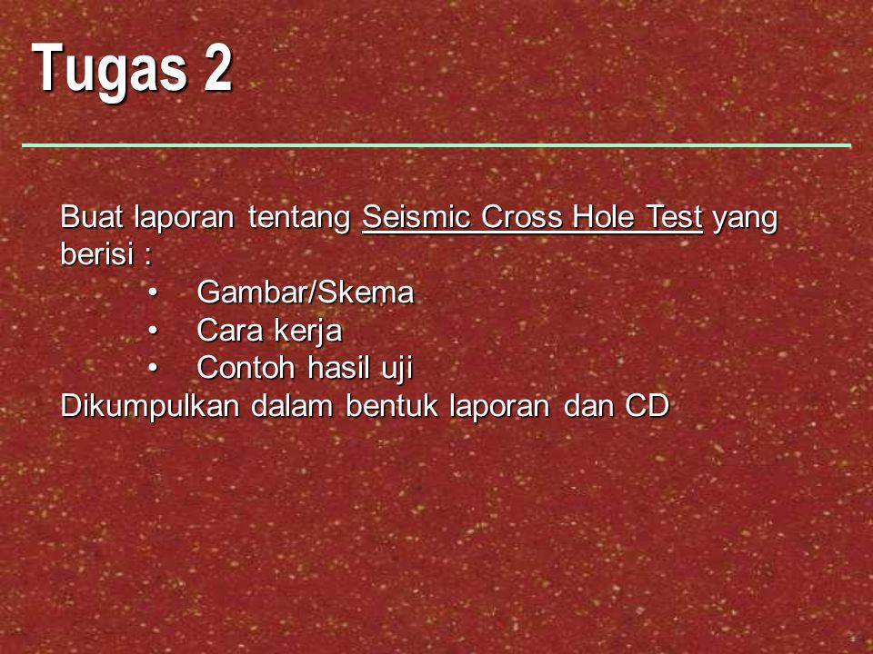 Tugas 2 Buat laporan tentang Seismic Cross Hole Test yang berisi : Gambar/SkemaGambar/Skema Cara kerjaCara kerja Contoh hasil ujiContoh hasil uji Diku