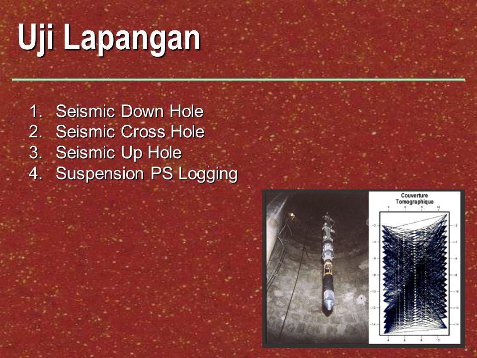Uji Lapangan 1.Seismic Down Hole 2.Seismic Cross Hole 3.Seismic Up Hole 4.Suspension PS Logging