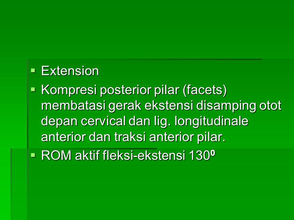  Extension  Kompresi posterior pilar (facets) membatasi gerak ekstensi disamping otot depan cervical dan lig. longitudinale anterior dan traksi ante