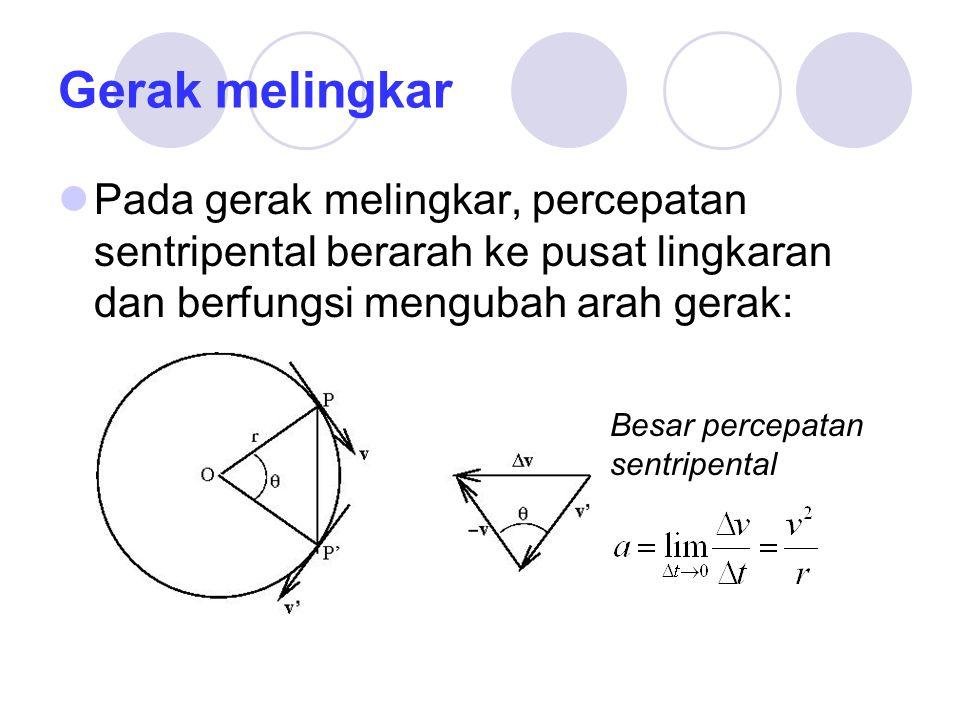 Gerak melingkar Pada gerak melingkar, percepatan sentripental berarah ke pusat lingkaran dan berfungsi mengubah arah gerak: Besar percepatan sentripen