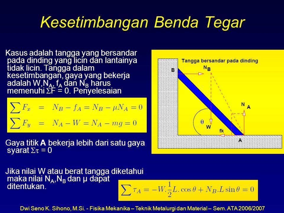 Dwi Seno K. Sihono, M.Si. - Fisika Mekanika – Teknik Metalurgi dan Material – Sem. ATA 2006/2007 Kesetimbangan Benda Tegar Kasus adalah tangga yang be