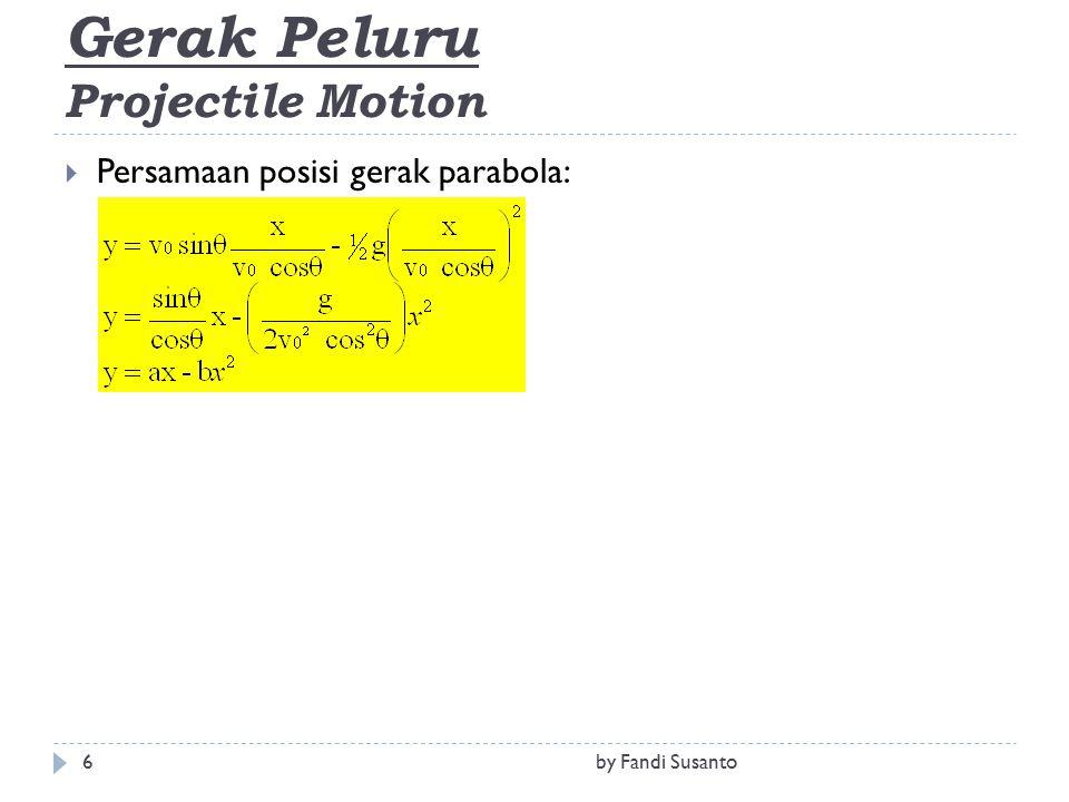 Gerak Peluru Projectile Motion  Persamaan posisi gerak parabola: 6by Fandi Susanto