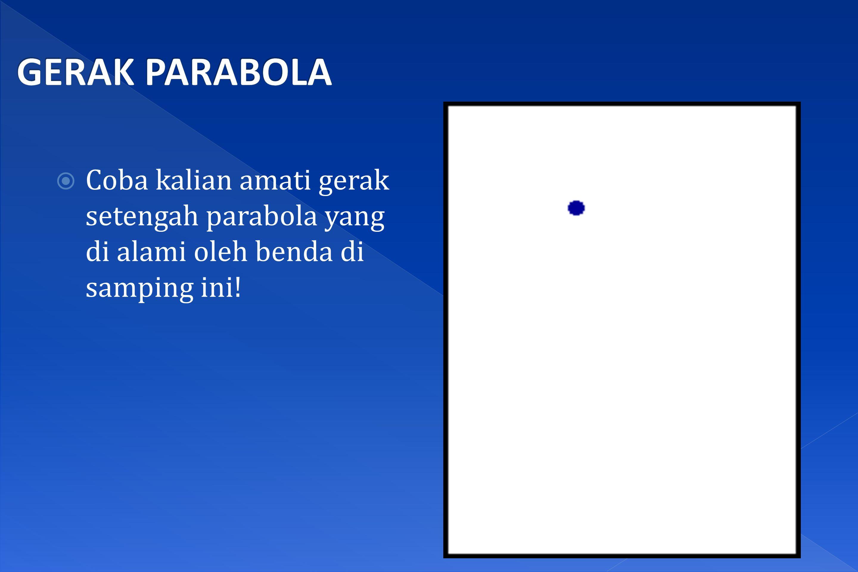  Coba kalian amati gerak setengah parabola yang di alami oleh benda di samping ini!