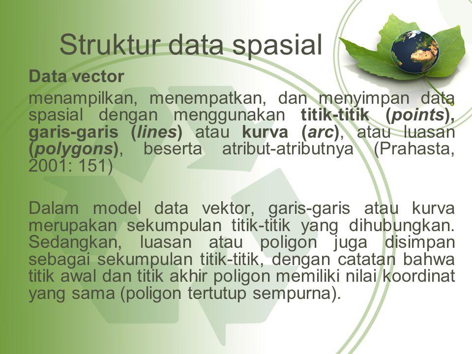 Struktur data spasial Data vector menampilkan, menempatkan, dan menyimpan data spasial dengan menggunakan titik-titik (points), garis-garis (lines) at
