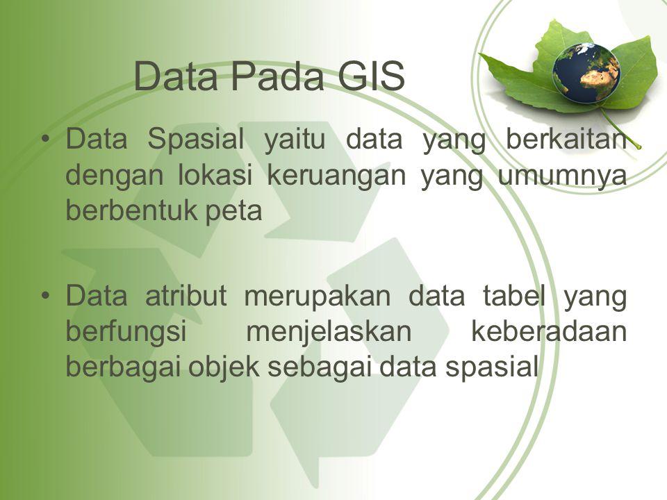 Data Pada GIS Data Spasial yaitu data yang berkaitan dengan lokasi keruangan yang umumnya berbentuk peta Data atribut merupakan data tabel yang berfun