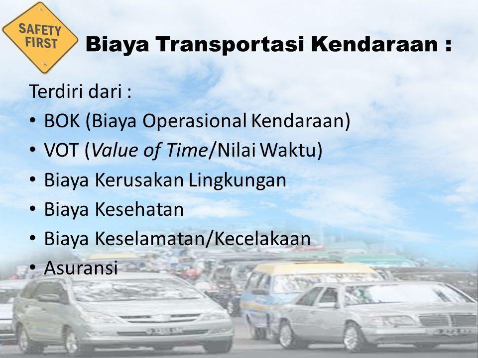 BiayaTransportasi Kendaraan : Biaya Transportasi Kendaraan : 2 Terdiri dari : BOK (Biaya Operasional Kendaraan) VOT (Value of Time/Nilai Waktu) Biaya Kerusakan Lingkungan Biaya Kesehatan Biaya Keselamatan/Kecelakaan Asuransi
