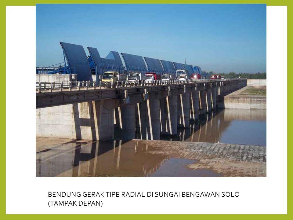 BENDUNG GERAK TIPE RADIAL DI SUNGAI BENGAWAN SOLO (TAMPAK DEPAN)
