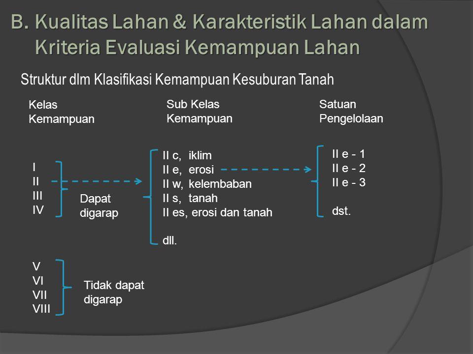 B. Kualitas Lahan & Karakteristik Lahan dalam Kriteria Evaluasi Kemampuan Lahan Struktur dlm Klasifikasi Kemampuan Kesuburan Tanah Kelas Kemampuan Sub
