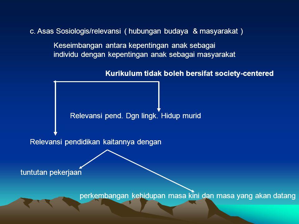 c. Asas Sosiologis/relevansi ( hubungan budaya & masyarakat ) Keseimbangan antara kepentingan anak sebagai individu dengan kepentingan anak sebagai ma