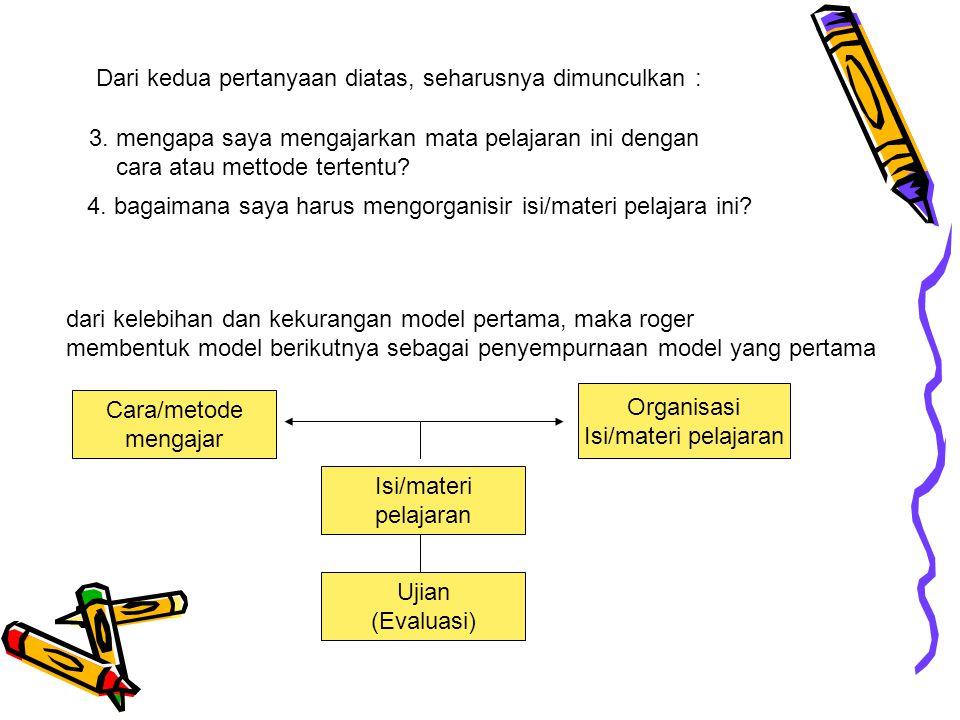4. bagaimana saya harus mengorganisir isi/materi pelajara ini? 3. mengapa saya mengajarkan mata pelajaran ini dengan cara atau mettode tertentu? Dari