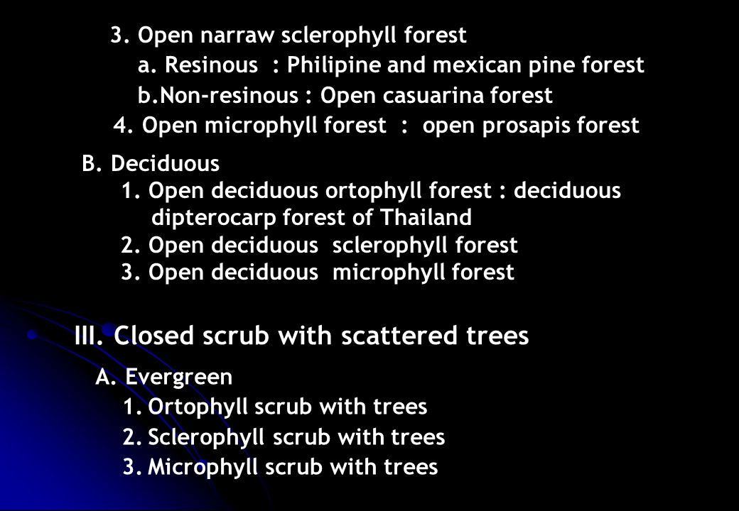 3. Open narraw sclerophyll forest a. Resinous : Philipine and mexican pine forest b.Non-resinous : Open casuarina forest 4. Open microphyll forest : o