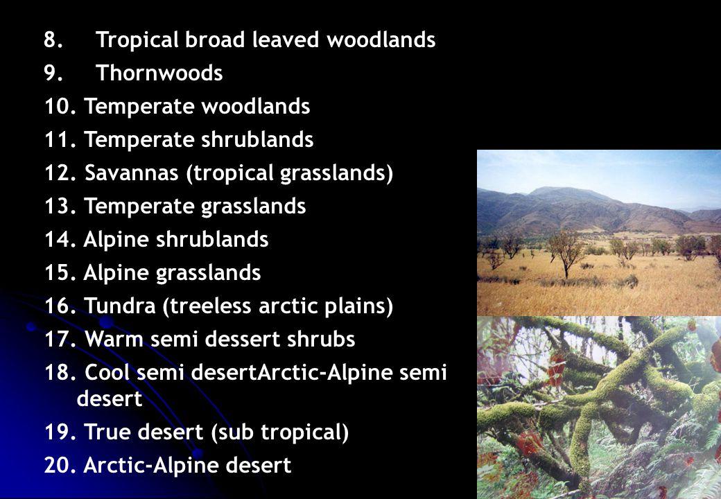 8. Tropical broad leaved woodlands 9. Thornwoods 10. Temperate woodlands 11. Temperate shrublands 12. Savannas (tropical grasslands) 13. Temperate gra