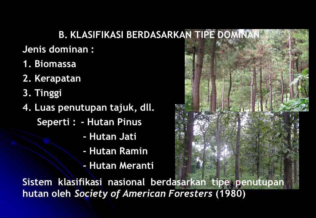 B.KLASIFIKASI BERDASARKAN TIPE DOMINAN Jenis dominan : 1. Biomassa 2. Kerapatan 3. Tinggi 4. Luas penutupan tajuk, dll. Seperti :- Hutan Pinus - Hutan