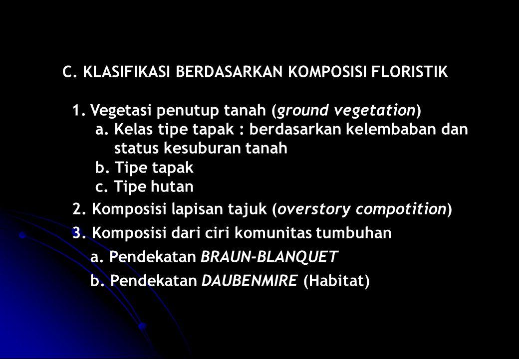 C. KLASIFIKASI BERDASARKAN KOMPOSISI FLORISTIK 1.Vegetasi penutup tanah (ground vegetation) a. Kelas tipe tapak : berdasarkan kelembaban dan status ke