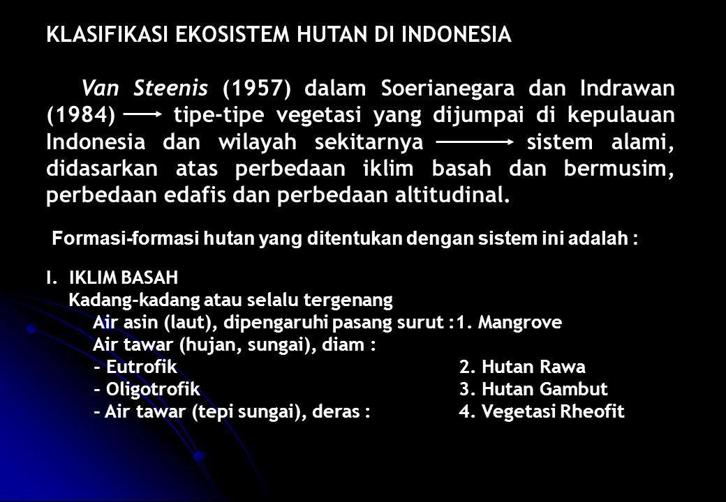 KLASIFIKASI EKOSISTEM HUTAN DI INDONESIA Van Steenis (1957) dalam Soerianegara dan Indrawan (1984) tipe-tipe vegetasi yang dijumpai di kepulauan Indon