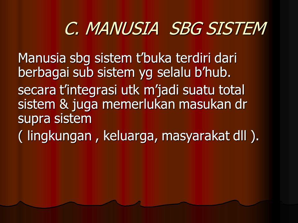 C. MANUSIA SBG SISTEM Manusia sbg sistem t'buka terdiri dari berbagai sub sistem yg selalu b'hub. secara t'integrasi utk m'jadi suatu total sistem & j