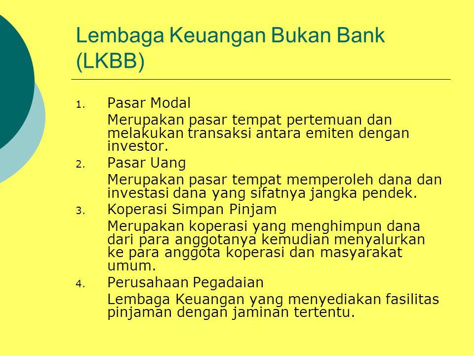 Lembaga Keuangan Bukan Bank (LKBB) 1. Pasar Modal Merupakan pasar tempat pertemuan dan melakukan transaksi antara emiten dengan investor. 2. Pasar Uan