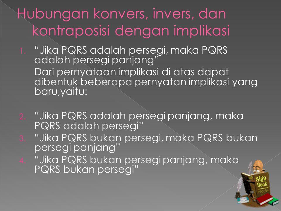 Apabila ditetapkan: P : PQRS adalah persegi Q :PQRS adalah persegi panjang Maka: 1.