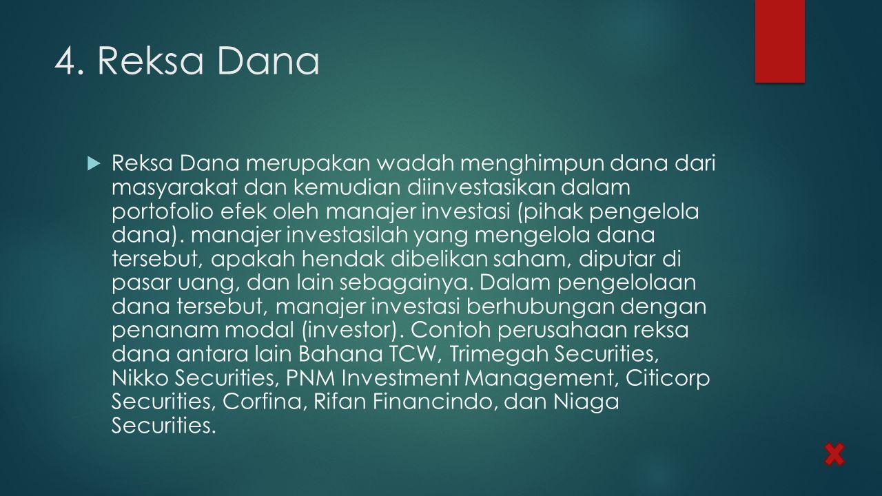 4. Reksa Dana  Reksa Dana merupakan wadah menghimpun dana dari masyarakat dan kemudian diinvestasikan dalam portofolio efek oleh manajer investasi (p
