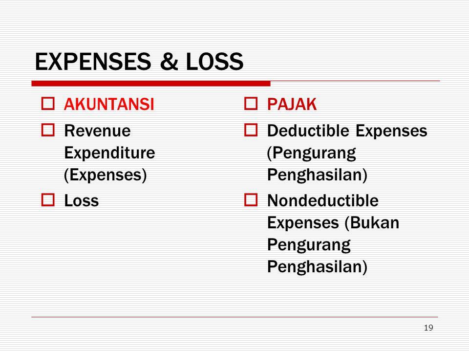 19 EXPENSES & LOSS  AKUNTANSI  Revenue Expenditure (Expenses)  Loss  PAJAK  Deductible Expenses (Pengurang Penghasilan)  Nondeductible Expenses