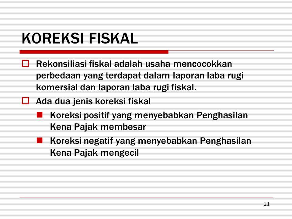 21 KOREKSI FISKAL  Rekonsiliasi fiskal adalah usaha mencocokkan perbedaan yang terdapat dalam laporan laba rugi komersial dan laporan laba rugi fiska