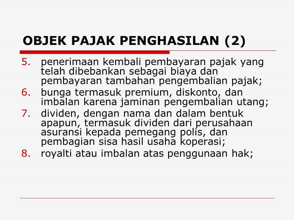 OBJEK PAJAK PENGHASILAN (2) 5.penerimaan kembali pembayaran pajak yang telah dibebankan sebagai biaya dan pembayaran tambahan pengembalian pajak; 6.bu