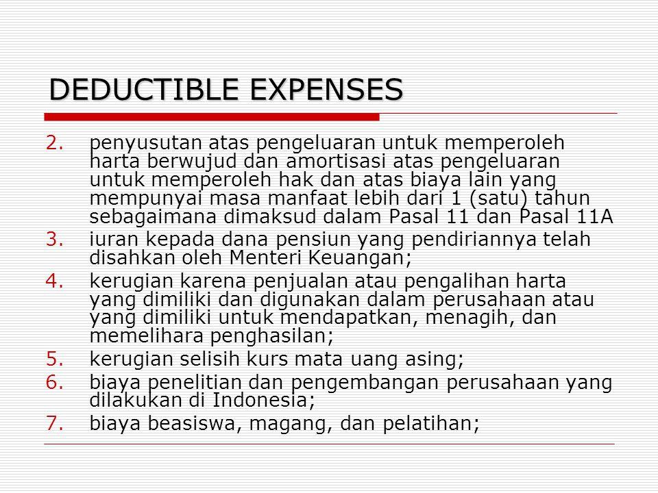 DEDUCTIBLE EXPENSES 2.penyusutan atas pengeluaran untuk memperoleh harta berwujud dan amortisasi atas pengeluaran untuk memperoleh hak dan atas biaya