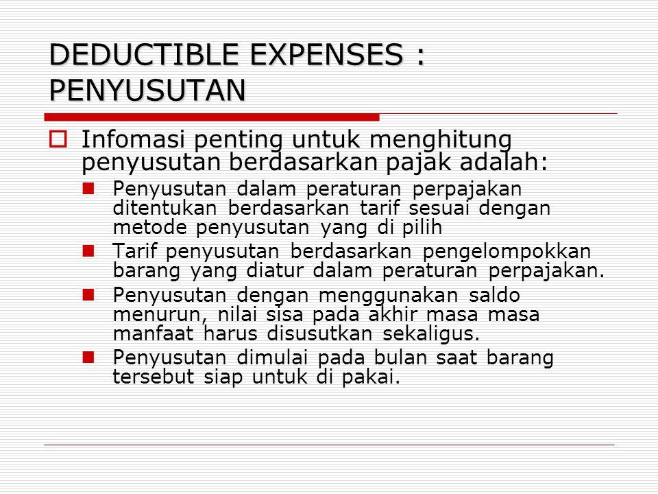 DEDUCTIBLE EXPENSES : PENYUSUTAN  Infomasi penting untuk menghitung penyusutan berdasarkan pajak adalah: Penyusutan dalam peraturan perpajakan ditent