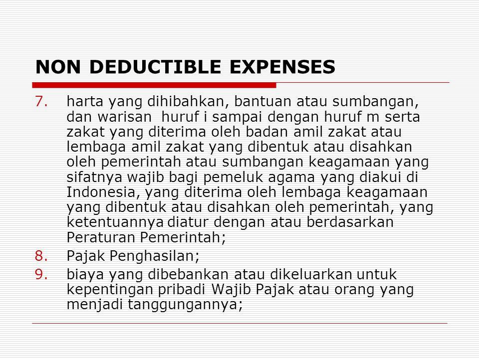 NON DEDUCTIBLE EXPENSES 7.harta yang dihibahkan, bantuan atau sumbangan, dan warisan huruf i sampai dengan huruf m serta zakat yang diterima oleh bada
