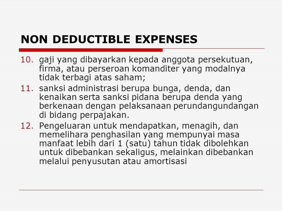 NON DEDUCTIBLE EXPENSES 10.gaji yang dibayarkan kepada anggota persekutuan, firma, atau perseroan komanditer yang modalnya tidak terbagi atas saham; 1