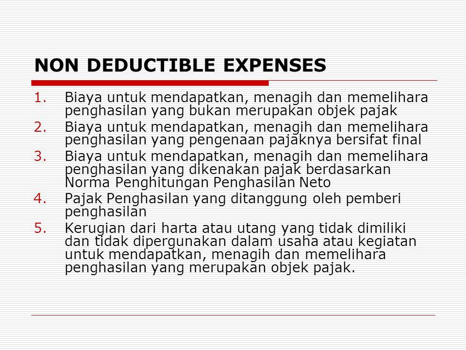 NON DEDUCTIBLE EXPENSES 1.Biaya untuk mendapatkan, menagih dan memelihara penghasilan yang bukan merupakan objek pajak 2.Biaya untuk mendapatkan, mena